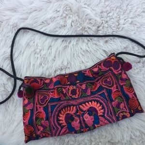 Anthropologie purse embroidered  cross body